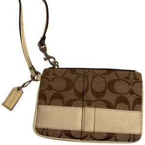 Coach Wristlet in Brown and White