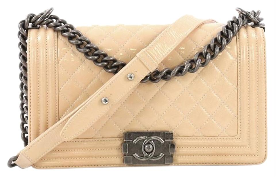 a660b61bdfca Chanel Classic Flap Boy Quilted Crinkled Patent Old Medium Beige Leather  Cross Body Bag