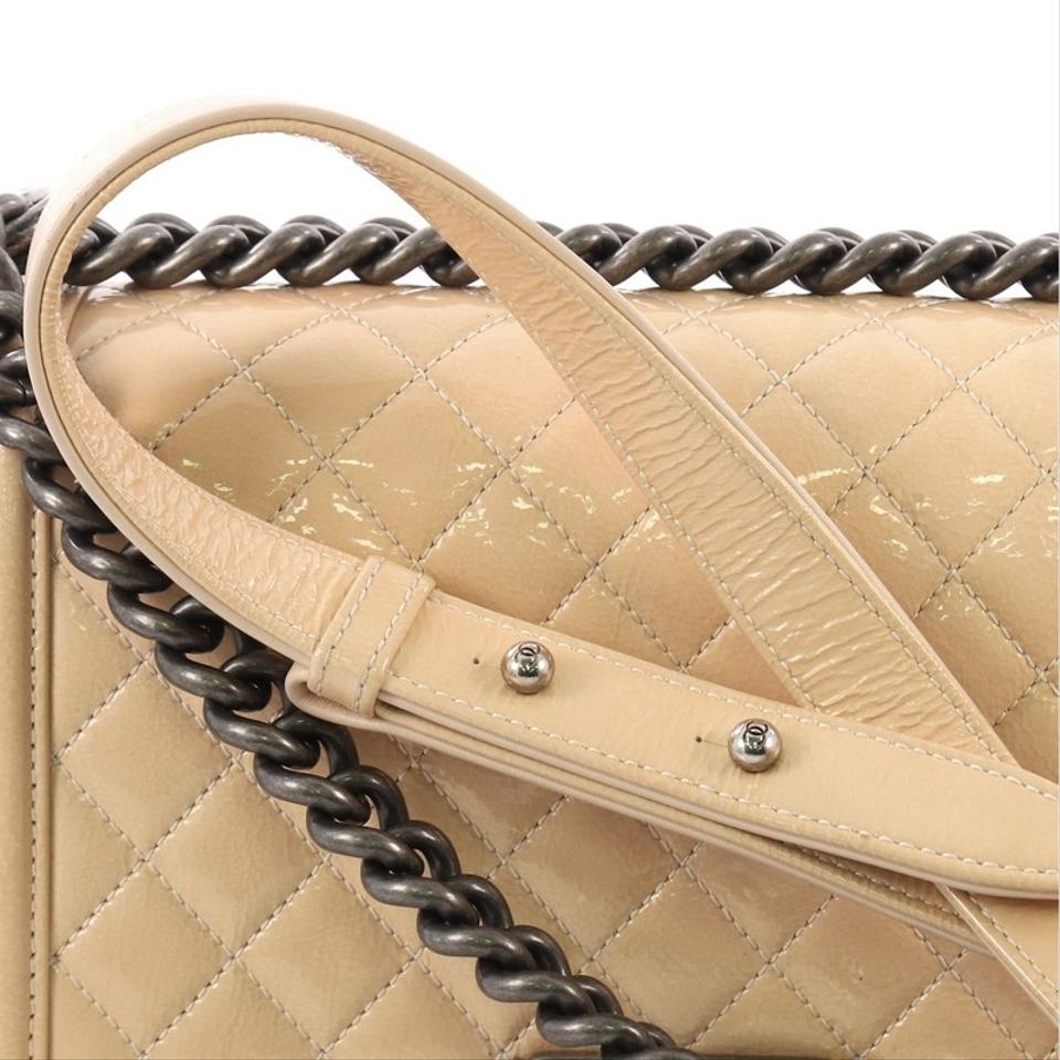 d13d8af10c84 Chanel Classic Flap Boy Quilted Crinkled Patent Old Medium Beige ...
