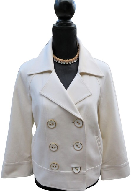 Item - Cream Cropped Double-breasted Jacket Size 8 (M)