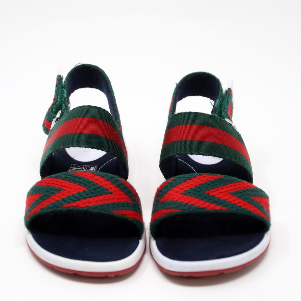 7e16efecdaeee3 Gucci Red Green Blue White Signature Web Gg Children s Chevron Leather Back  Strap Sandals