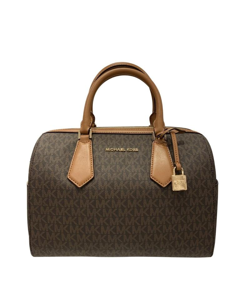 b1dbbddb6035 Michael Kors Hayes Mk Logo Pvc Large Duffle Brown Leather Shoulder ...