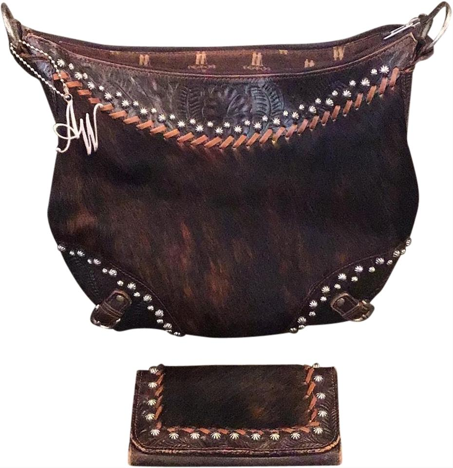 American West Wallet Chocolate Brown Leather And Cowhide Hobo Bag 52 Off Retail