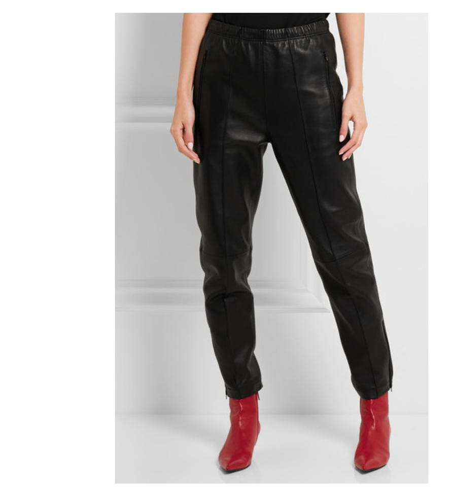 finest selection details for unbeatable price Black Leather Track Pants