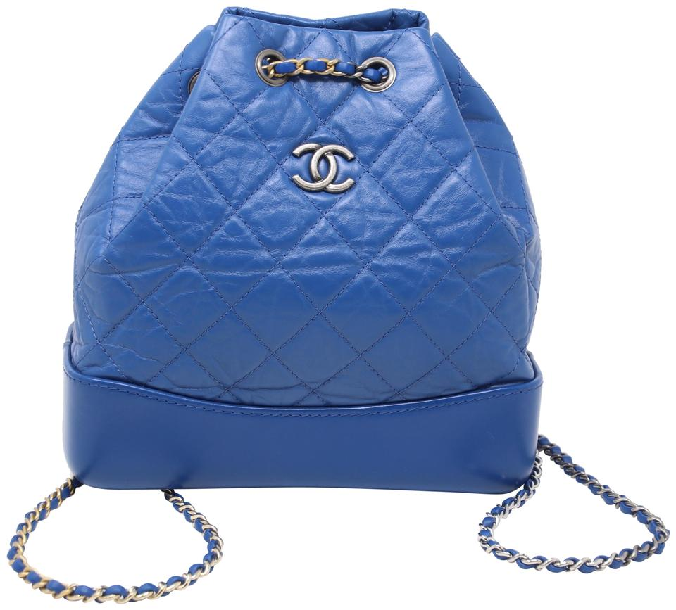 28d7ce8b5b694a Chanel Gabrielle Aged Quilted Blue Calfskin Leather Backpack - Tradesy