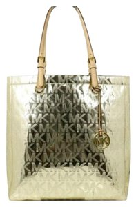 0cf97ff08c2d Michael Kors Monogram Shiny Glossy Like Patent Leather Tote in Metallic  Mirror Pale Gold