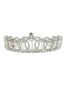 Silver Crystal Flower Rhinestone Metal Tiara Hair Accessory
