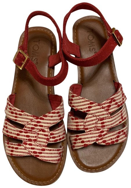 TOMS Red New Sandals Size US 6 Regular (M, B) TOMS Red New Sandals Size US 6 Regular (M, B) Image 1