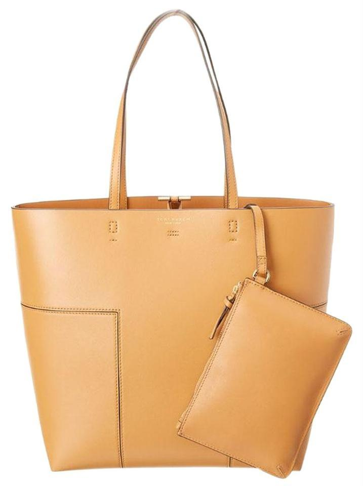 f24c48518 Tory Burch Block-T T Tall N S W Pouch British Tan Leather Tote - Tradesy
