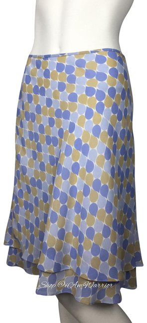 Item - Periwinkle Blue and Tan Teardrop Print Tiered Skirt Size 8 (M, 29, 30)