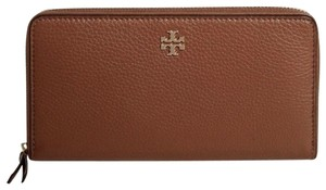 Tory Burch Brown New Gold Logo Leather Large Bag Zip Wallet