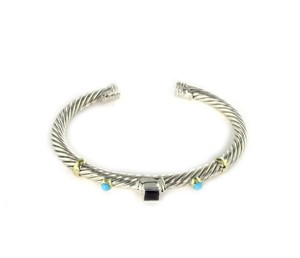 David Yurman Amethyst Turquoise Sterling 14k Yellow Gold Cable Bracelet