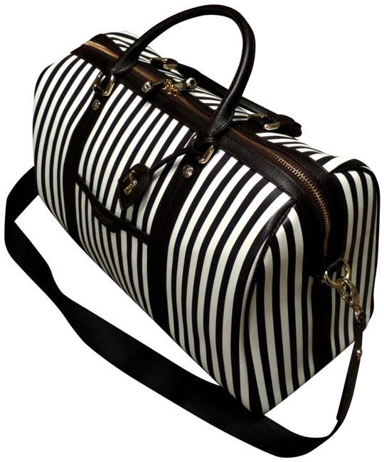 Item - Duffle Centennial Stripe Weekend Used Once White / Brown Leather Shoulder Bag