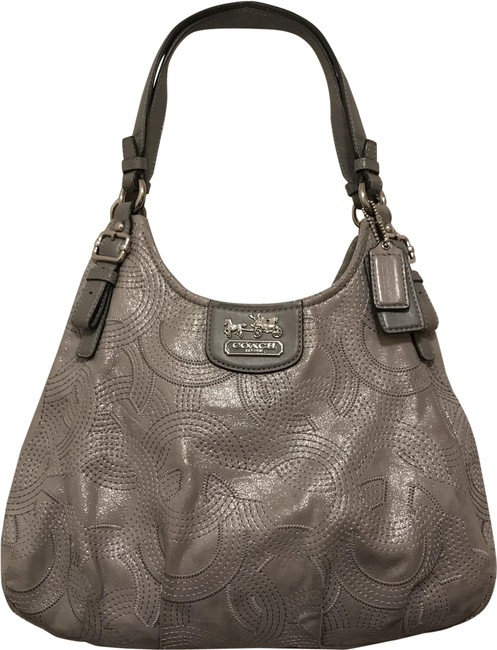 Item - Maggie Madison Stitched Metallic 18766 Silver Gray Leather Shoulder Bag