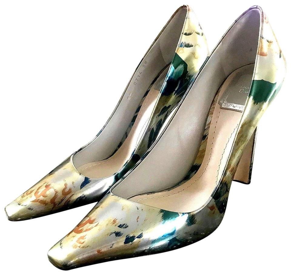 8f035fbdef Dior Louboutin Italy Heels Designer Silver Metallic Floral Pumps Image 0 ...