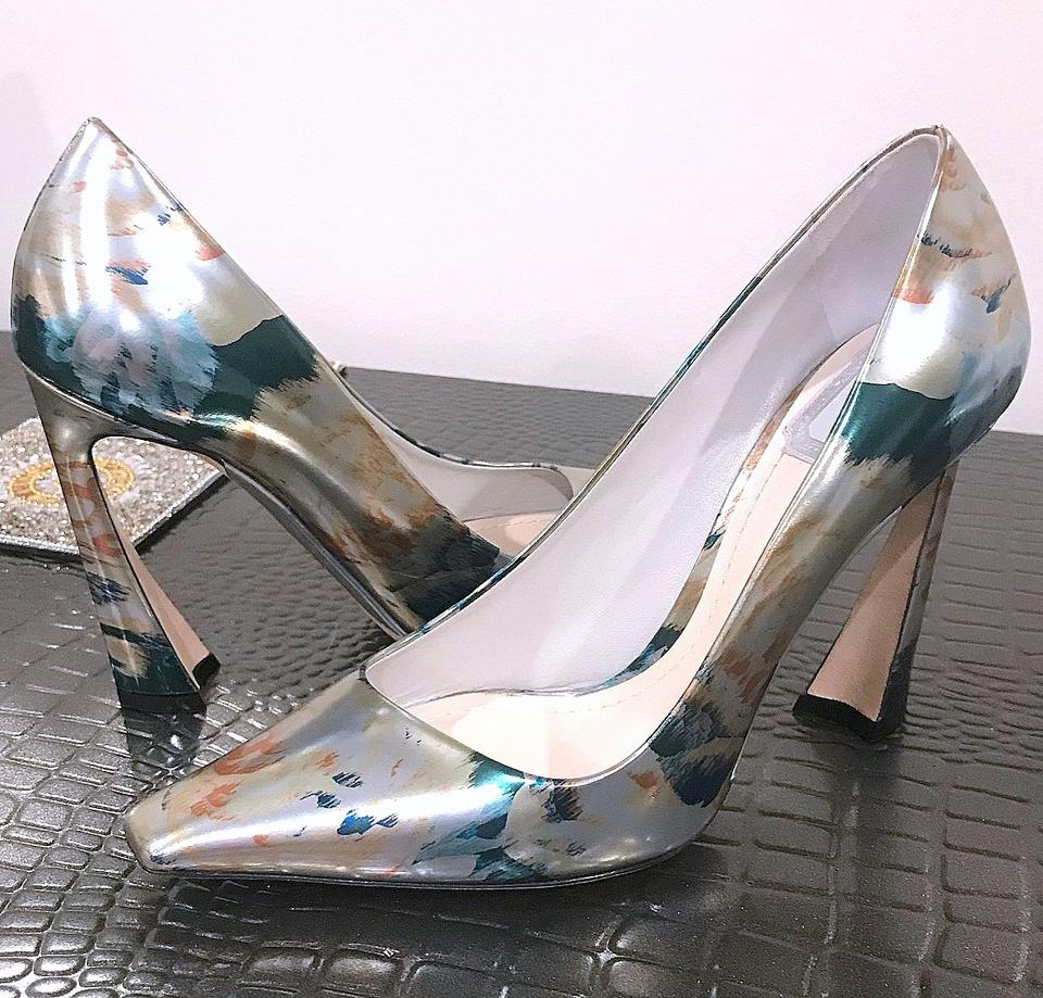 4a5c52a495 Dior Louboutin Italy Heels Designer Silver Metallic Floral Pumps Image 9.  12345678910