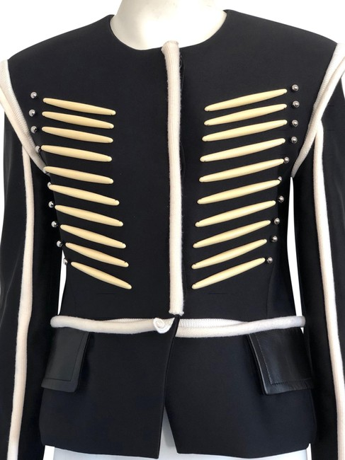 Item - Black And White Military with Beads Jacket Size 8 (M)