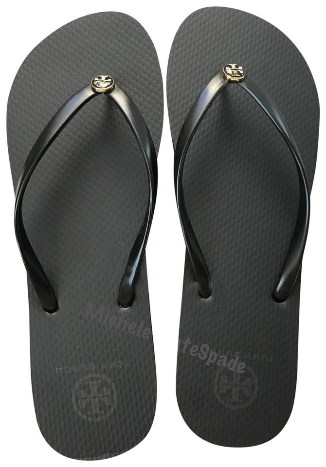 791056e2544c Tory Burch Black Logo Thin Flip Flops Sandals Size US 7 Regular (M ...