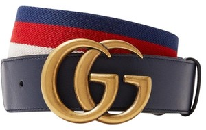 Gucci Navy Blue Size 70 Striped Canvas and Leather Belt
