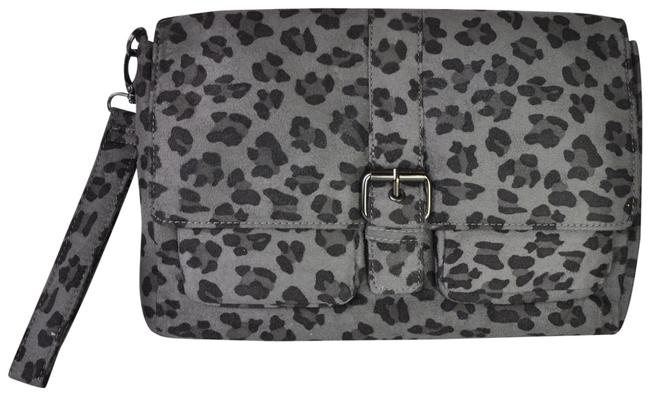 Item - Bcbg Black Leopard Buckle Purse Gray Wristlet