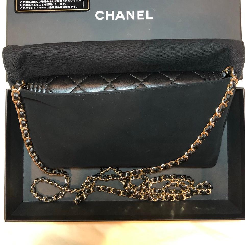 68393e9f8b Chanel Boy Wallet on Chain Gold-tone Metal Black Lambskin Leather Cross  Body Bag