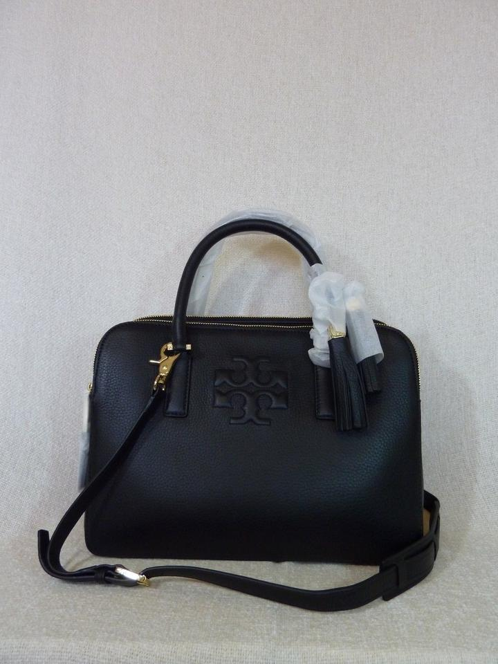 c155abcf2518 Tory Burch Thea Triple-zip Black Leather Satchel - Tradesy