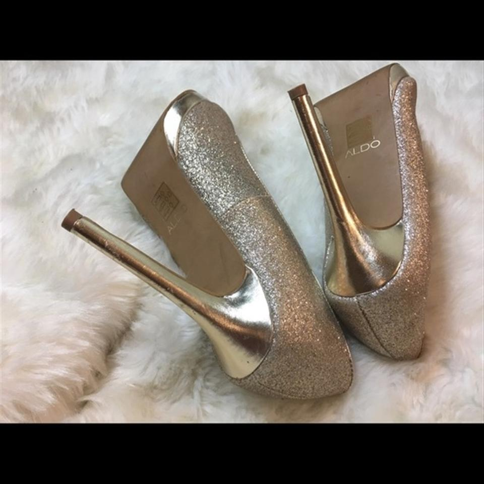0b39a64d606 ALDO Gold Glitter Stilettos Heels Formal Shoes Size US 8.5 Regular ...