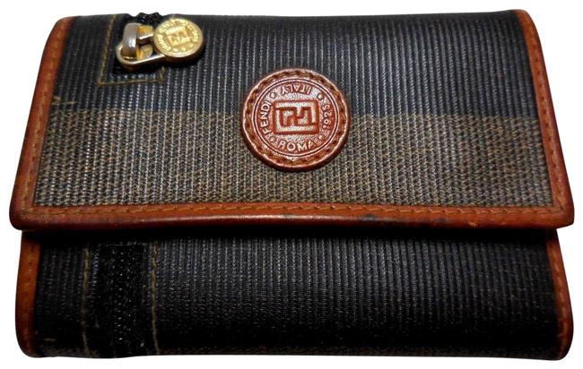 Item - Wide Striped Pequin Print Coated Canvas In Browns and Burnt Orange Leather Key Holder/Wallet Wallet
