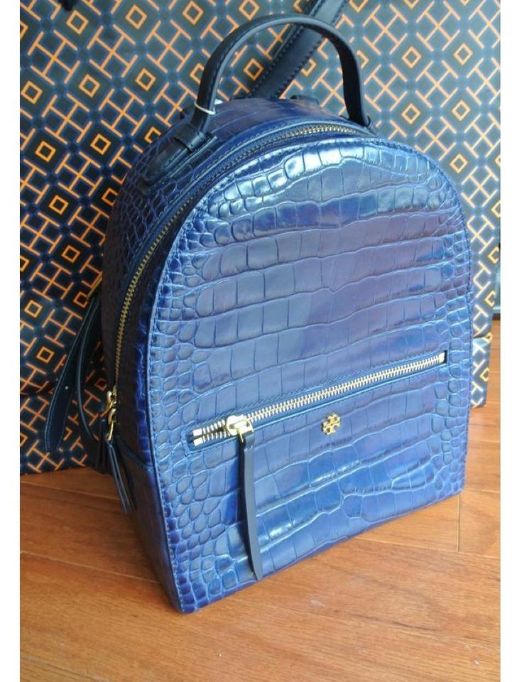 bf1ade039432 Tory Burch Flash-sale Croc-embossed Navy Mini Blue Leather Backpack -  Tradesy