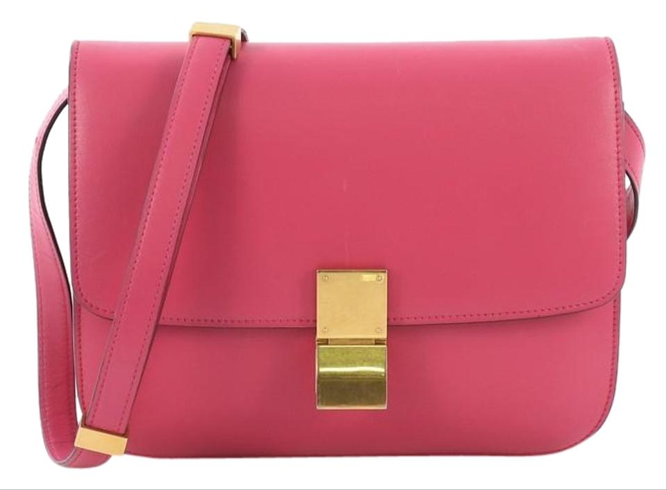 Céline Classic Box Smooth Medium Pink Leather Shoulder Bag - Tradesy e9cb77351cd64