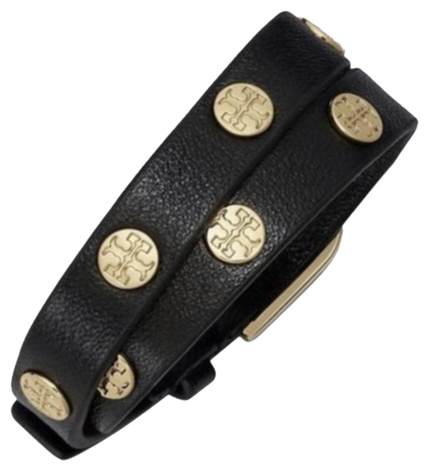 d96e9e33c1a3 Tory Burch Black Double Wrap Logo Gold W Dust Bag Bracelet - Tradesy