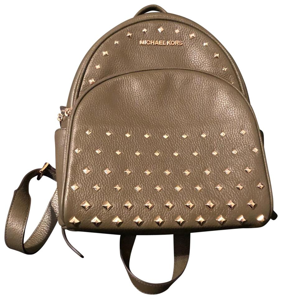 0be5d2caadde Michael Kors Abbey Medium Studded Olive Leather Backpack - Tradesy