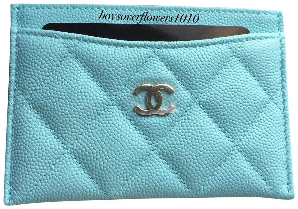 0732201f9660d8 Chanel New 19C Tiffany Light Blue Caviar Leather Flat Card Case Holder  Image 0 ...