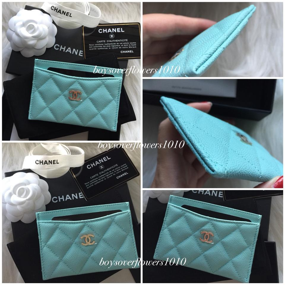 44540a549867 Chanel New 19C Tiffany Light Blue Caviar Leather Flat Card Case Holder  Image 11. 123456789101112