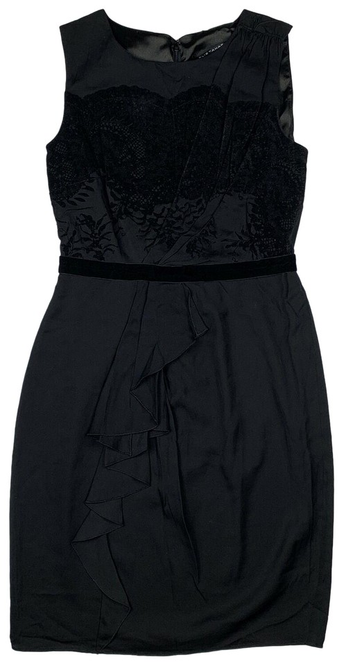 109a6135c9b2 Elie Tahari Black XS Lace Sheath Ruffle Career Cocktail Dress Size 0 ...