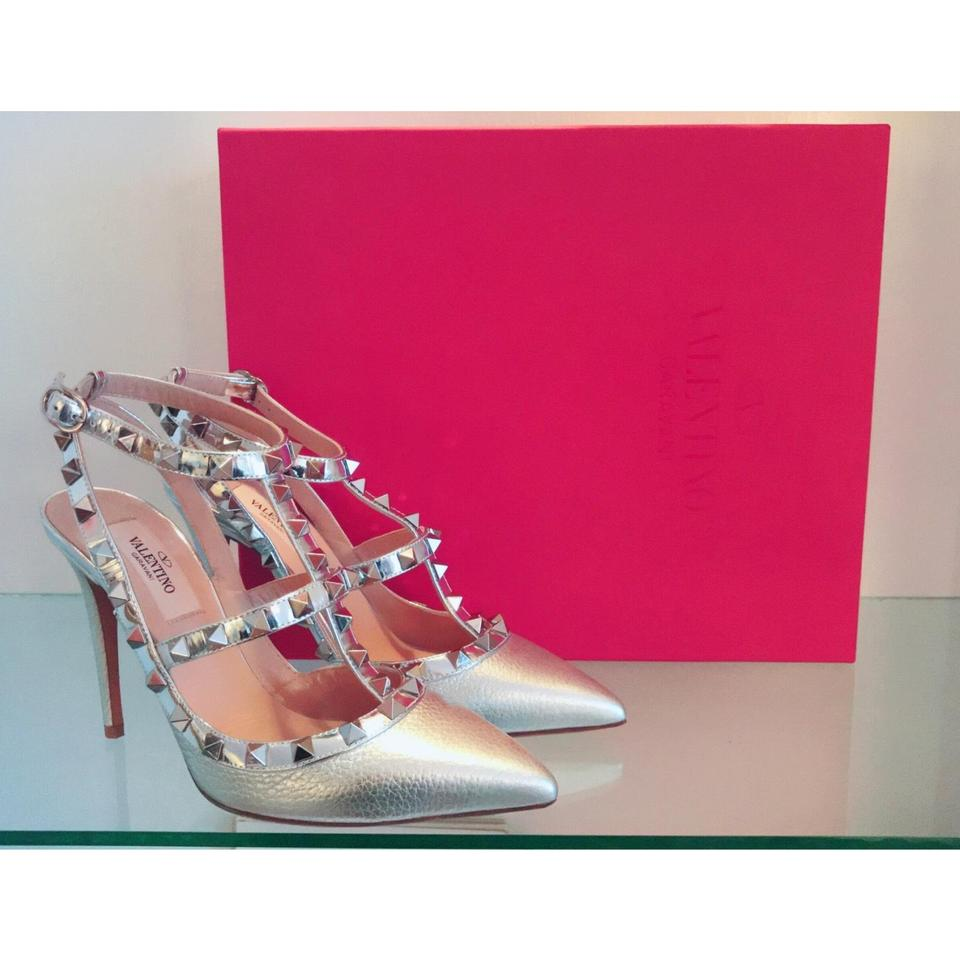 a6dcdd12873 Valentino Silver Rockstud Ankle Strap T.100 In Elk Print Patent Leather  Pumps Size EU 36 (Approx. US 6) Regular (M