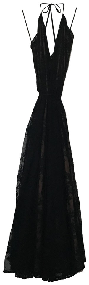 cf3d145364b Michael Costello Black Lace with Nude Underlay Paris Gown Long ...