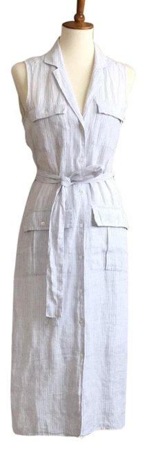 Item - White with Gray Stripe Linen Shirtdress Mid-length Casual Maxi Dress Size 6 (S)