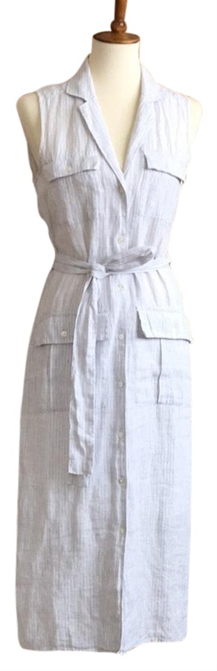 02a88ad9ac James Perse White with Gray Stripe Linen Shirtdress Mid-length ...