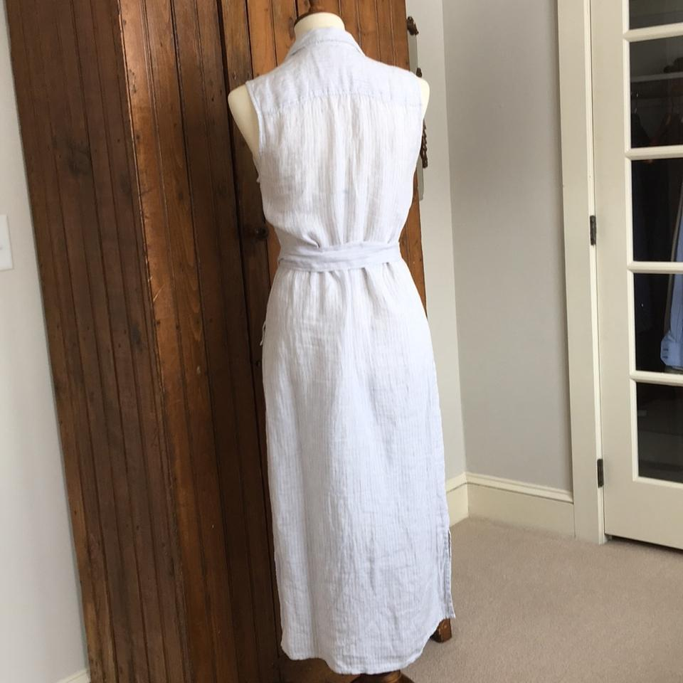 c492102a83 James Perse White with Gray Stripe Linen Shirtdress Mid-length Casual Maxi  Dress Size 6 (S) - Tradesy