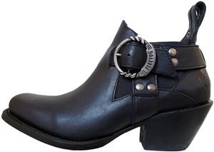 John Fluevog Leather Silver Buckle Chunky Heel Square Toe Black Boots