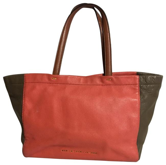 Item - Coral / Beige Leather Tote