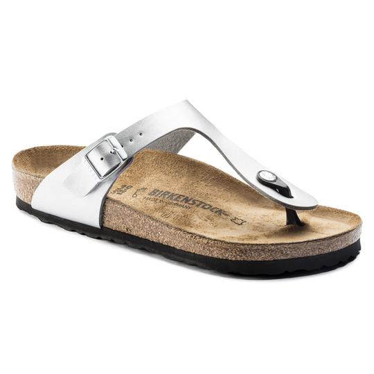Birkenstock Silver Gizeh Soft Footbed Sandals Size EU 39 (Approx. US 9) Regular (M, B)