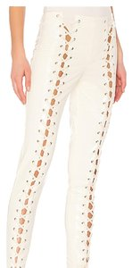 LPA Vinyl Patent Leather Sexy Cut Out Side Ties Skinny Pants White