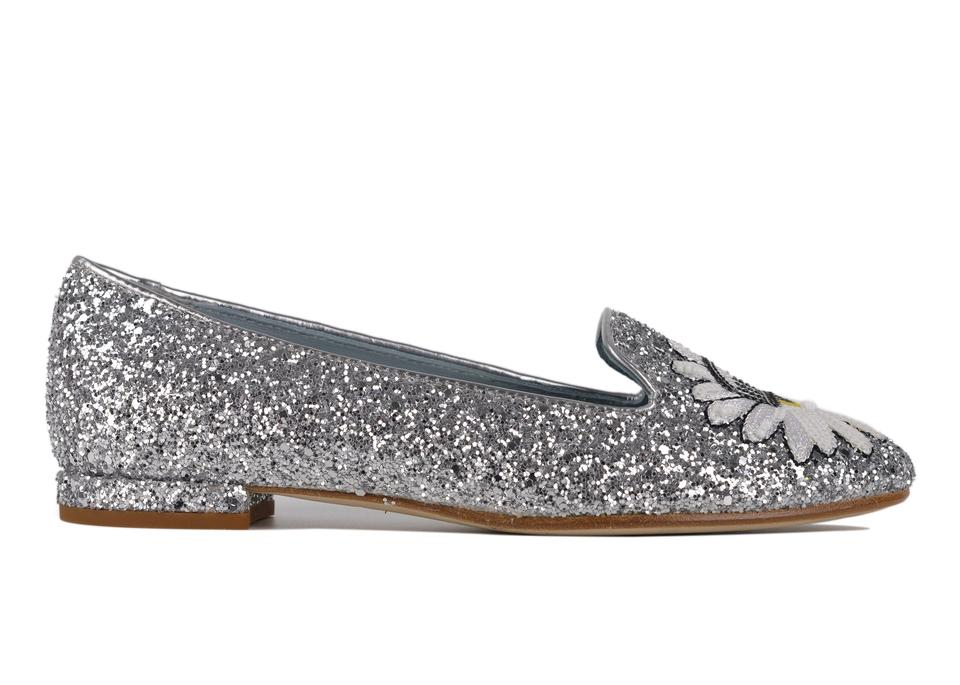 79e2dc4eb147 Chiara Ferragni Silver Womens Leather Glitter Flirting Slippers C3503 Flats