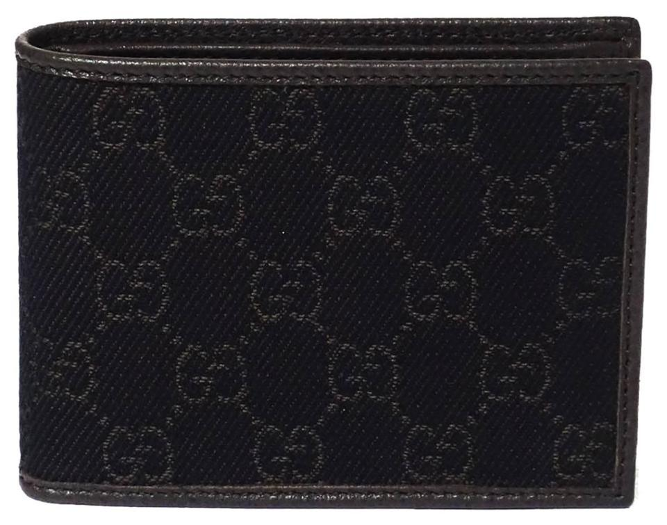 60f71945c2ef Gucci GUCCI 150403 Men's Denim GG Bifold Dark Brown Wallet Image 0 ...