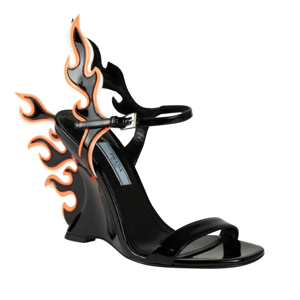 82fbfb1b5e17 Prada Black Patent Leather Flame Heels Sandals Size EU 36.5 (Approx ...