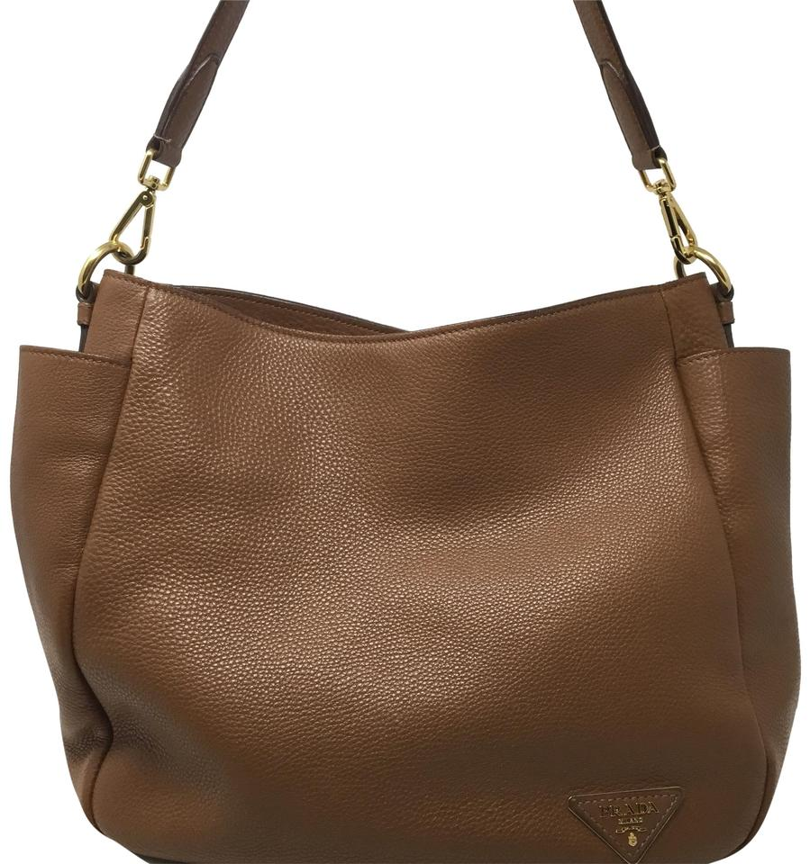81173ad3ff Prada Vitello Diano Side Pocket Brown Leather Tote - Tradesy