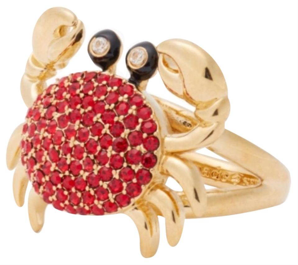 ab7aae7df954a Kate Spade Red/ Gold Shore Thing Pave Crab Ring 61% off retail