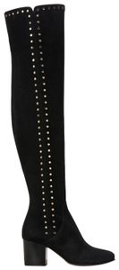 Jimmy Choo Thigh High Over The Knee Suede Studded Black Boots